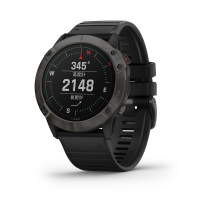 Fenix 6x Pro Solar Titanium Carbon Gray DLC with Black Silicone Band (中文版)