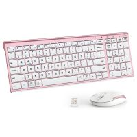 iClever IC-GK03-RG 2.4G Ergonomic Wireless Keyboard and Mouse Combo (Rose gold)
